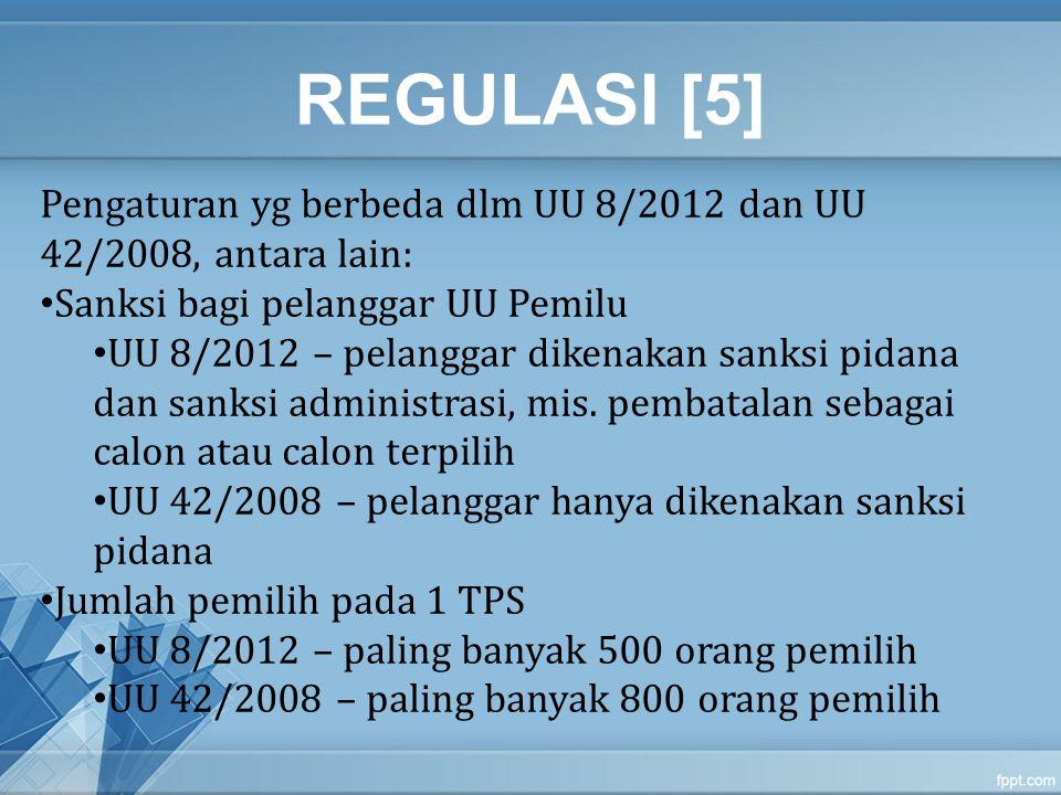 REGULASI [5] Pengaturan yg berbeda dlm UU 8/2012 dan UU 42/2008, antara lain: Sanksi bagi pelanggar UU Pemilu.